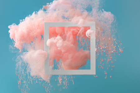 Photo pour Abstract pastel pink color paint with pastel blue background.. Fluid composition with copy space. Minimal natural luxury. - image libre de droit