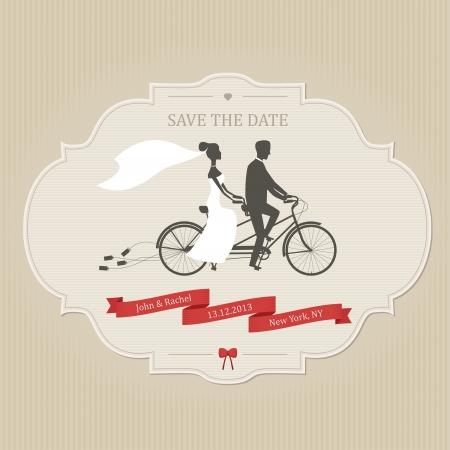 Foto de Funny wedding invitation with bride and groom riding tandem bicycle - Imagen libre de derechos