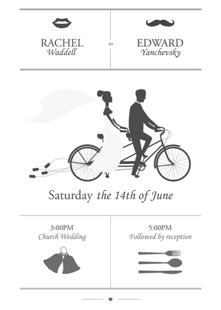 Photo pour Vintage minimalistic wedding invitation with bride and groom riding tandem bicycle dragging cans - image libre de droit