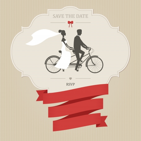 Photo pour Vintage wedding invitation with tandem bicycle and place for text - image libre de droit