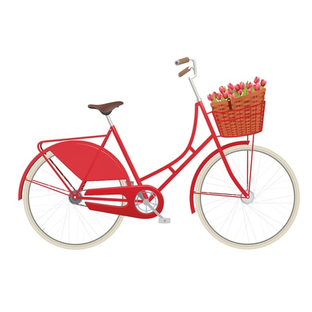 Vintage ladies bicycle with wicker basket filled with tulips