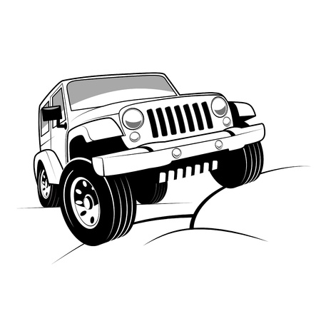 Photo for Monochrome detailed cartoon off-road car climbing rocks - Royalty Free Image