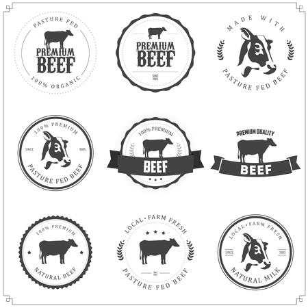 Set of premium beef labels, badges and design elements