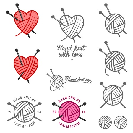 Ilustración de Set of hand knit labels, badges and design elements - Imagen libre de derechos