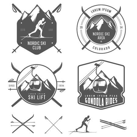 Illustration pour Set of nordic skiing design elements - image libre de droit