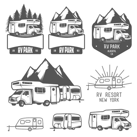 Illustration pour RV and caravan park badges and design elements - image libre de droit
