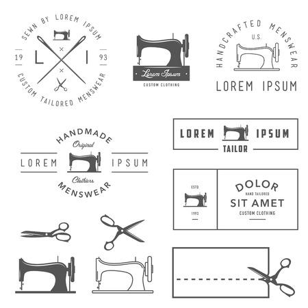 Photo pour Set of vintage tailor labels, badges and design elements - image libre de droit