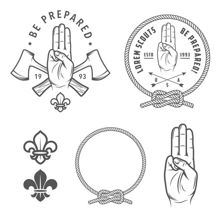 Illustration pour Scout symbols and design elements - image libre de droit