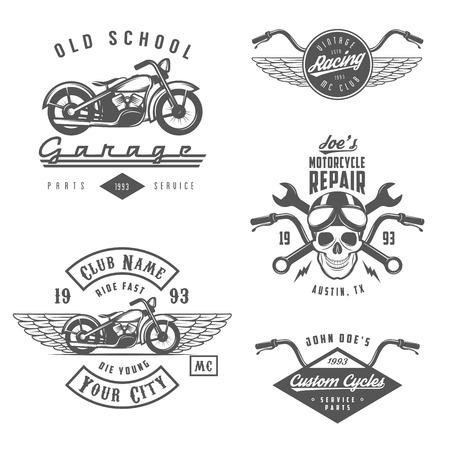 Illustration pour Set of vintage motorcycle labels, badges and design elements - image libre de droit