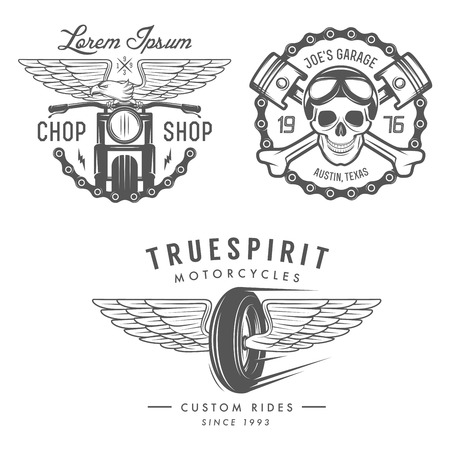 Illustration for Set of vintage motorcycle labels, badges and design elements - Royalty Free Image
