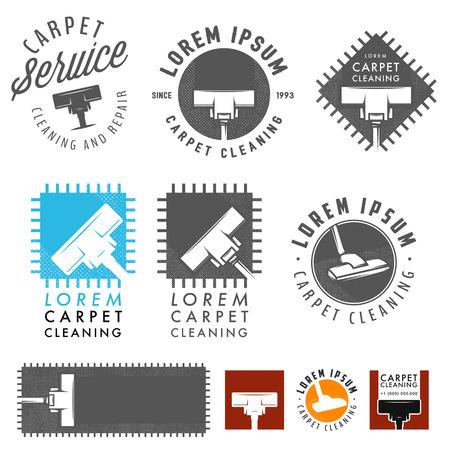 Illustration pour Set of retro carpet cleaning labels, emblems and design elements - image libre de droit