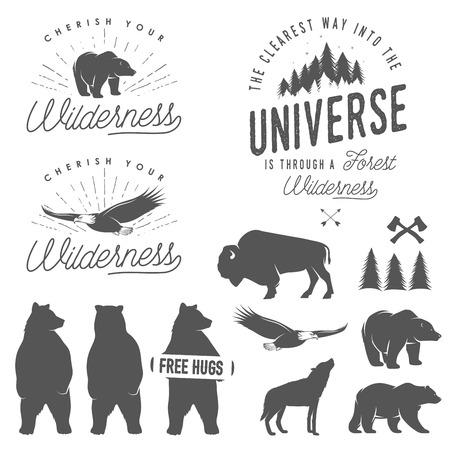 Illustration pour Set of wilderness quotes, emblems, silhouettes and design elements - image libre de droit