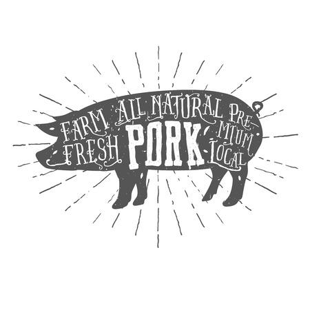 Illustration for Vintage typographic premium pork meat label - Royalty Free Image