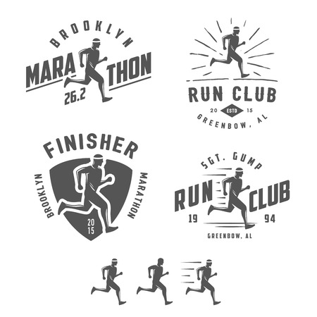Ilustración de Set of vintage running club labels, emblems and design elements - Imagen libre de derechos