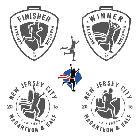 Ilustración de Set of vintage marathon labels, medals and design elements - Imagen libre de derechos