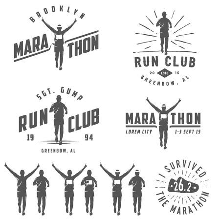 Ilustración de Set of vintage run club labels, emblems and design elements - Imagen libre de derechos