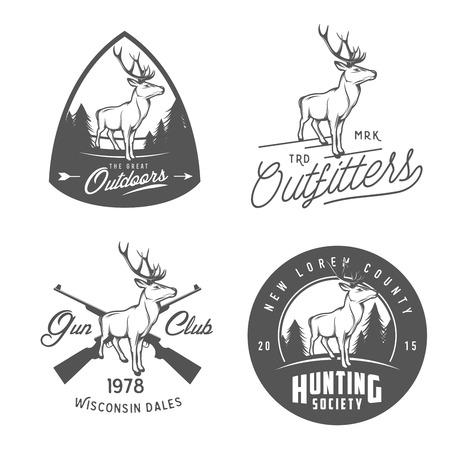 Illustration pour Set of vintage outdoors labels, badges and design elements - image libre de droit