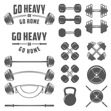 Ilustración de Set of vintage gym equipment quotes and design elements - Imagen libre de derechos