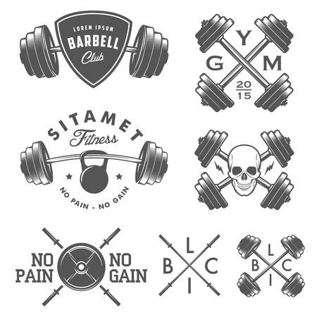 Ilustración de Set of vintage gym emblems labels and design elements - Imagen libre de derechos