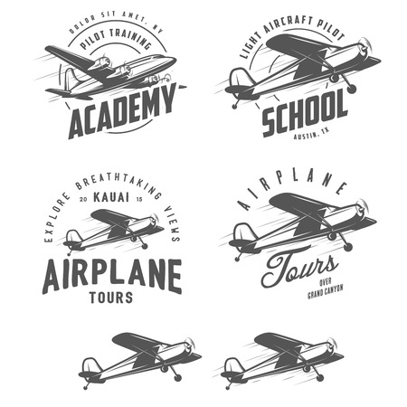 Light airplane related emblems, labels and design elements