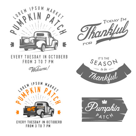 Illustrazione per Set of vintage Thanksgiving Day emblems, signs and design elements - Immagini Royalty Free