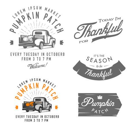 Illustration pour Set of vintage Thanksgiving Day emblems, signs and design elements - image libre de droit