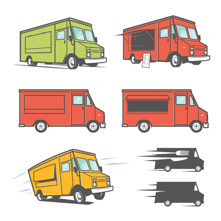 Illustration pour Set of food trucks from various angles, icons and design elements - image libre de droit