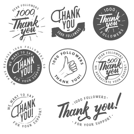 Illustration pour Set of vintage Thank you badges, labels and stickers - image libre de droit
