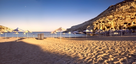 Matala beach at sunrise in C