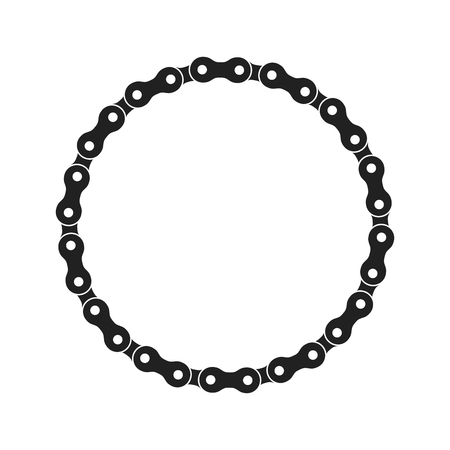 Illustration pour Round Vector Frame Made of Bike or Bicycle Chain. Monochrome Black Bike Chain. Blank Bike Chain Circle Frame. - image libre de droit