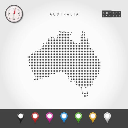 Illustration pour Dots Map of Australia. Simple Silhouette of Australia. Realistic Vector Compass. Set of Multicolored Map Markers. Vector Illustration. - image libre de droit