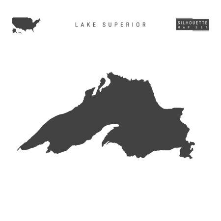 Ilustración de Lake Superior Blank Vector Map Isolated on White Background. High-Detailed Black Silhouette Map of Lake Superior. - Imagen libre de derechos