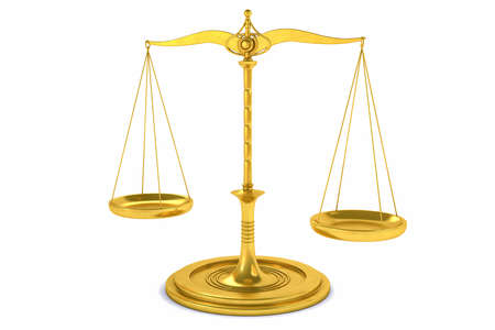 Photo pour 3D Isolated Balance or scale Background for measure. Justice, law or decisions concept. - image libre de droit