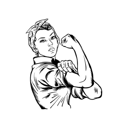 Illustrazione per Rosie the riveter vector illustration - international women's day vector, yes we can vector isolated on white background - Immagini Royalty Free