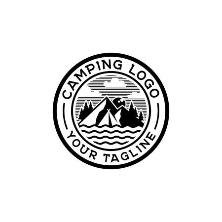 Ilustración de Camp logo design inspiration, outdoor logo design inspiration isolated on white background - Imagen libre de derechos