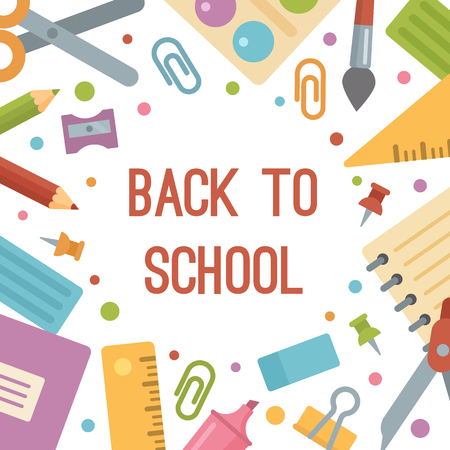 Illustration for Back to school, stationery flat icons banner. Scissors, paintbrush, copybook, notepad, pins, pencils, ruler, pencil sharpener, paints, plasticine, marker, eraser, clip, compass, triangle - Royalty Free Image