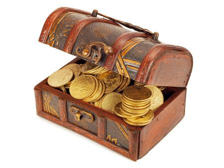 Photo pour Treasure Chests with gold coins - image libre de droit