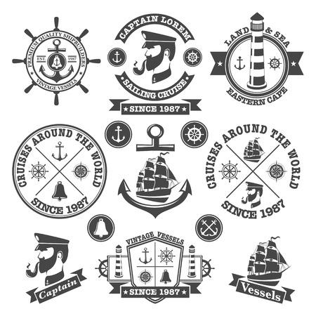 Ilustración de Set of vintage nautical labels and icons  - Imagen libre de derechos
