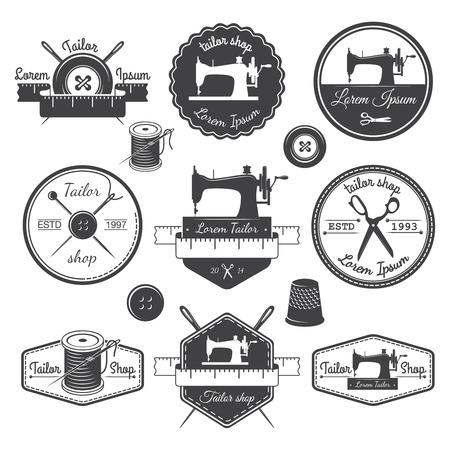 Illustration pour Set of vintage tailor labels, emblems and designed elements   - image libre de droit