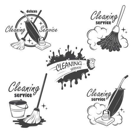 Ilustración de Set of cleaning service emblems, labels and designed elements  Also can be used as logos for your company or single project  All elements are 100  editable  - Imagen libre de derechos