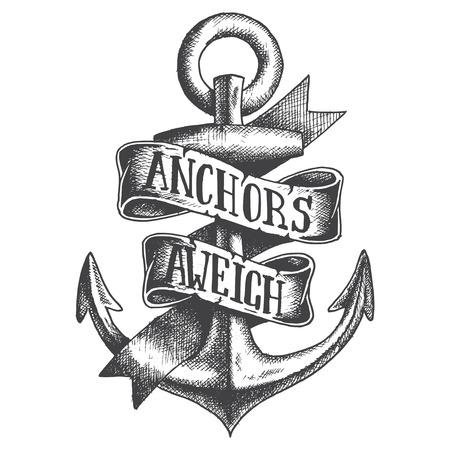 Illustration pour Hand Drawn Anchor with ribbon - image libre de droit