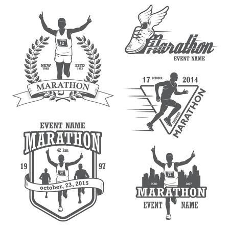Illustration for Set of running marathon and jogging emblems, labels and badges.  - Royalty Free Image