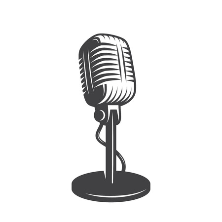 Illustrazione per Vector illustration of isolated retro, vintage microphone. - Immagini Royalty Free
