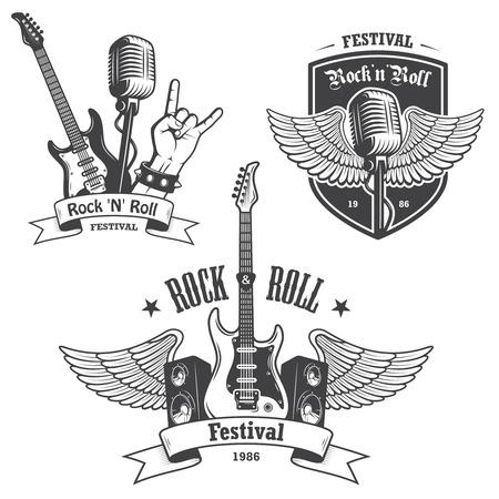 Illustration pour Set of rock and roll music emblems, labels, badges and design elements. Heavy metal design. - image libre de droit