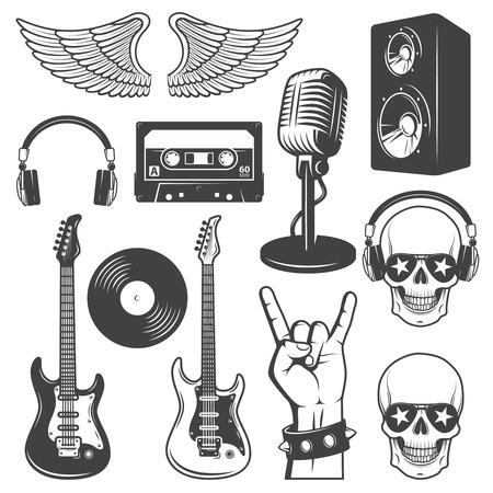 Illustration pour Set of rock and roll music elements. Monochrome - image libre de droit