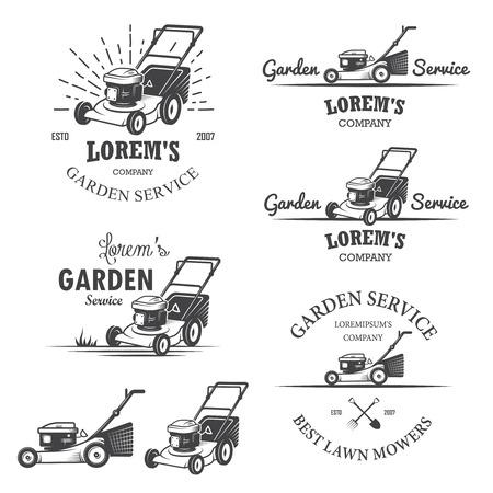 Ilustración de Set of vintage garden service emblems, labels, badges, logos and designed elements. Monochrome style - Imagen libre de derechos