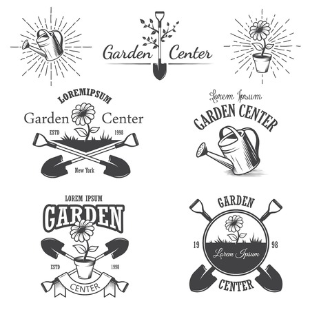 Ilustración de Set of vintage garden center emblems, labels, badges, logos and designed elements. Monochrome style - Imagen libre de derechos