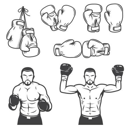 Set of vintage boxing emblems, labels, badges, icon and designed elements. Monochrome style