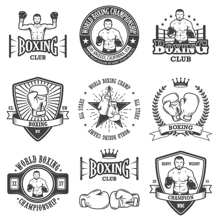 Set of vintage boxing emblems, labels, badges, logos and designed elements. Monochrome style
