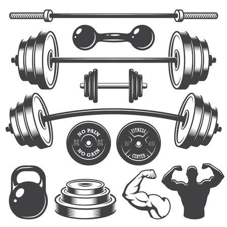 Foto de Set of vintage fitness designed elements. Monochrome style - Imagen libre de derechos